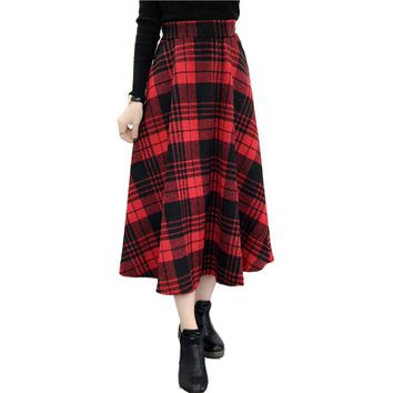 2017 Winter Autumn Plaid Skirt Women Fashion Elastic High Waist long wool Skirts plus size A-line Midi woolen maxi skirt faldas