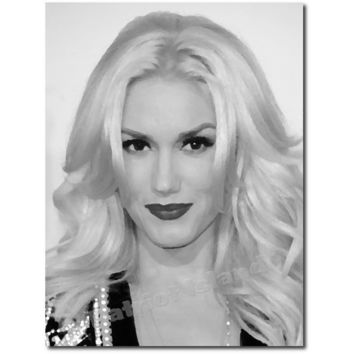 Gwen stefani art print impressionist from for Black and white celebrity prints