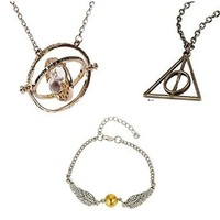 Z-Tout Harry Potter Jewelry(Pack Of 3) Hermione Granger's Time Turner,Deathly Hallows Necklace,Golden Snitch Bracelet Brand change to:Z-Tout