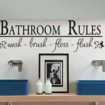 Bathroom Wall Decal Bathroom Rules Wash Brush Floss Flush Bath Room Wall Sticker Bath Room Rules Vinyl Lettering Wall Decor Kids Childs Bath