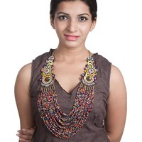 Multi-color Poth Beads & Embroidered Necklace