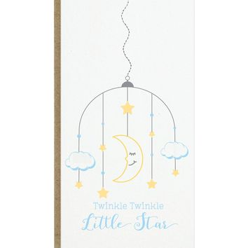 Twinkle Twinkle Little Star Baby Card with sewn paper