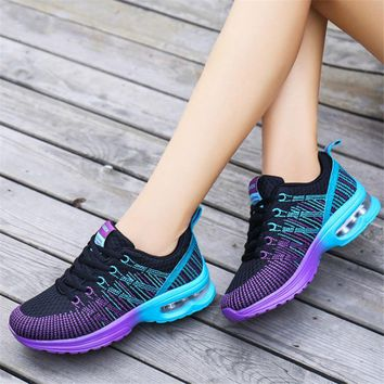 2018 Fashion Korean Women Air cushion Shoes Tenis Feminino Casual Shoes Outdoor Walking Shoes Women Flats Lace Up Ladies sneaker
