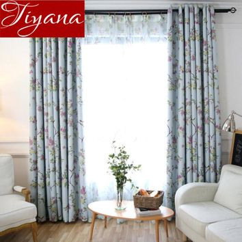 Curtains Floral Birds Pattern Print Voile Window Modern Living Room Tulle Curtains Drapes Sheer Fabrics Cortinas T&183 #30