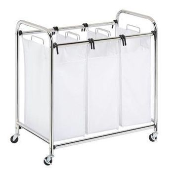 Triple Laundry Sorter HD White