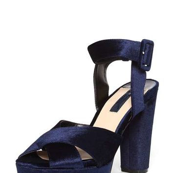 Navy 'Ruby' Velvet Sandals - Shoes & Boots