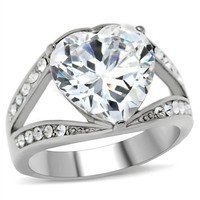 Heart CZ Stainless Steel Engagement Ring