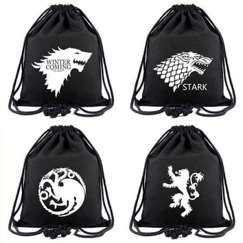 Game Of Thrones Drawstring Bags Cartoon Canvas Rucksack Boys Girls Shopping Travel Bags School Backpack Party Gifts