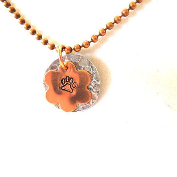 Animal Lover Metal Stamped Copper & Silver Necklace with Paw Print, Personalized Jewelry, Mother's Day