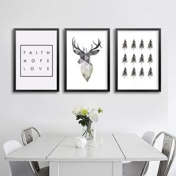 Geometric Deer Canvas Painting Nordic Animals Poster Pop Wall Art Prints Scandinavian Decoration Pictures No Frame Home Decor