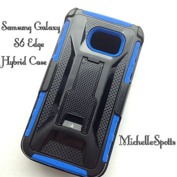 Samsung Galaxy S6 Edge Hybrid Case Hard Black Plastic Soft Blue Silicone Belt Clip KickStand 3-piece Rugged Heavy Duty Combo Case