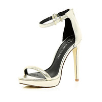 River Island Womens Gold platform barely there sandals