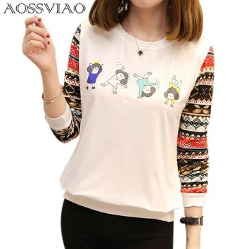 AOSSVIAO Poleras Mujer Autumn T-Shirt Women Graphic Funny T Shirts 2018 New Womens Long Sleeve Tops Chemise Femme Manche Longue