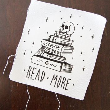 """Read More"" Skull + Books Canvas Patch"