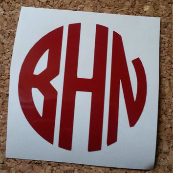 Circle Monogram | Car Monogram | Vinyl Decal | Cup Decal | Circle Decal | Southern Decal | Monogram | Window Decal | Preppy Decal | Decal