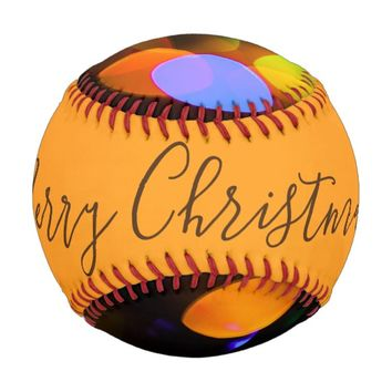 Multicolored Christmas lights. Add text or name. Baseball