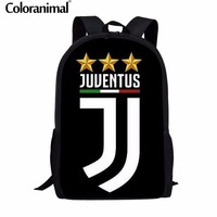 Coloranimal Men Ronaldo Juventus Backpack Teenager Boy Large Softback Rucksack Ronaldo Juventus 3D Print Child Mochila Schoolbag