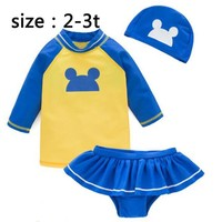 Childrens Swimsuit Cute Summer children bathingsuit cartoon mouse design swimwear boy/girls bikini long sleeve  children beach clothes 1-6t KO_25_2