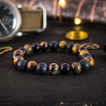 8mm - Black onyx, matte black onyx, tiger eye & lava stone beaded stretchy bracelet, yoga bracelet, mens bracelet, womens bracelet