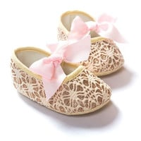 Lovely Baby Girls Princess Bowknot Shoes Toddler Soft Soled Anti-slip Crib Shoes 0-12M