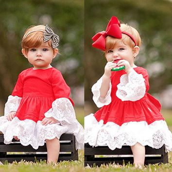 Spring Autumn Toddler Baby Girl Lace Princess Dress Christmas Outfit Clothes Red