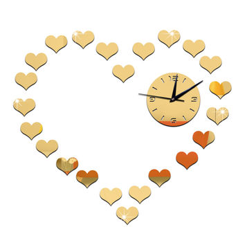 DIY Living Room Peach Heart Mirror Wall Clock    golden
