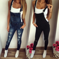 Womens Jeans Pinafore Dungaree Bodycon Jumpsuit Salopette longues Pantalons Pantalons