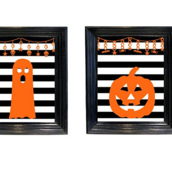 Halloween Decor Striped Pumpkin and ghost set printable wall art pictures scary art 8x10 downloadable printable