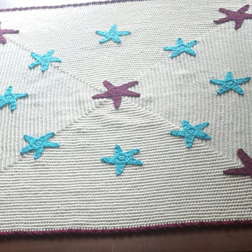 Baby Blanket, Cotton blanket, Boy's blanket, Crochet blanket, Baby shower gift, Stroller blanket, Crib size, Cream blanket, Baby blanket