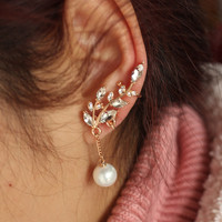 rhinestone plated gold women ear cuff earrings luxury ear clips fashion jewelry pierced Jewellery 0220/PR YY0316
