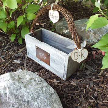 Shabby Chic Wedding Advice Card Box - Featuring Reclaimed Wood, Shabby Chic White Paint, Grapevine Handle, Rusty Tin Sign And Personalizaton
