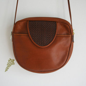 vintage 80s purse / louis féraud / cognac leather / skinny shoulder strap / french