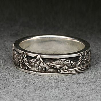 PEAKS, PINES, and RIVERS - A Highly Detailed Wedding Band in Sterling Silver