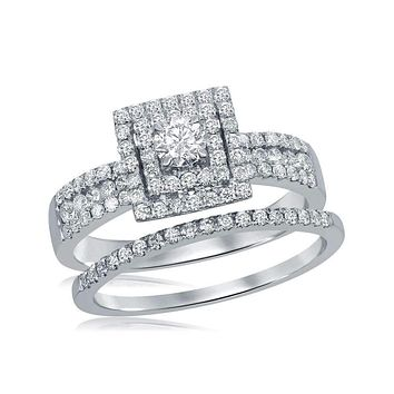 14kt White Gold Womens Round Diamond Square Halo Bridal Wedding Engagement Ring Band Set 7-8 Cttw