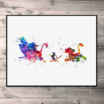 The Lion King Watercolor Simba Art Print Timon and Pumbaa Nursery Wall Art Kids Bedroom Children Artwork Gift Painting Print No
