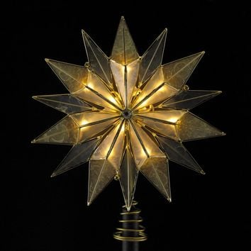 """9"""" Lighted 14 Point Smoked Capiz and Brass Plated Starburst Christmas Tree Topper - Clear Lights"""