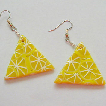 Geometric Lemon Slice PolymerClay Earrings  ~Lemon Slice Earrings~Summer Lemon Earrings ~Lemon Dangle Earrings~Novelty Lemon Slice Earrings