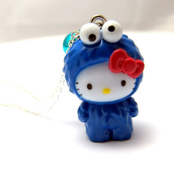 """Cookie Monster Hello Kitty Necklace // Sesame Street Charm  // Blue Jingle Bell // 17"""" Silver Chain"""