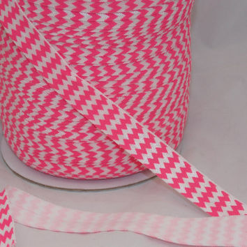 5 yards Pink Chevron Print Fold Over Elastic FOE 5/8 inch Fabric - Emi Jay Material - DIY Hair ties and headbands Soft Stretchy No Pull
