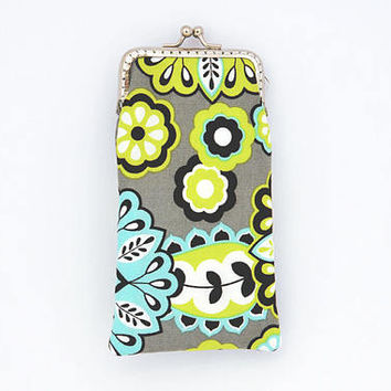 Sunglasses Case - Neon Green, Aqua and Gray cotton fabric - Kiss Lock Silver Frame