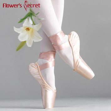 Flower' Secret Pointe Satin Upper With Ribbon Girls Women's Pink Professional Ballet Shoes Dancing Shoes With  Toe Pads