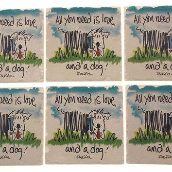Dog Theme Tumbled Tile Coasters Set 6 CounterArt Absorbent Stone