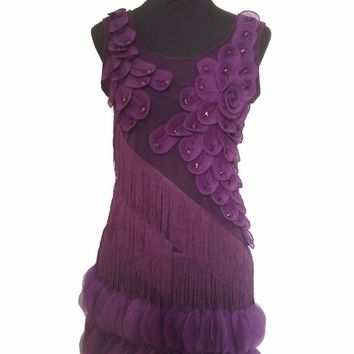 Vintage flower appliques Latin dance dress sexy round collar sleeveless slim fringe beading asymmetrical women party dress