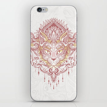 Cat mandala iPhone Skin by printapix