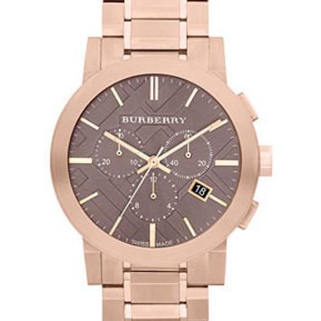 Burberry Watch, Men's Swiss Chronograph Rose Gold Ion Plated Stainless Steel Bracelet 42mm BU9353 - Burberry - Jewelry & Watches - Macy's