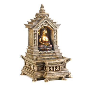 Home Water Fountain Buddha Fountains Small Indoors Golden Buddha Temple Fountain
