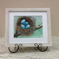 Blue eggs in nest, bird nest wall art, bird nest print, nest framed print, bird themed art, framed birds nest, blue eggs picture frame