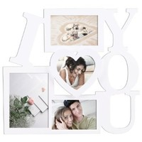 Adeco PF0002 Decorative White Wood ''I Love You'' Wall Hanging Collage Picture Photo Frame, 4 Openings, Various Sizes - 4x6, 4.5x5, 3.5x5, 4x4 inches