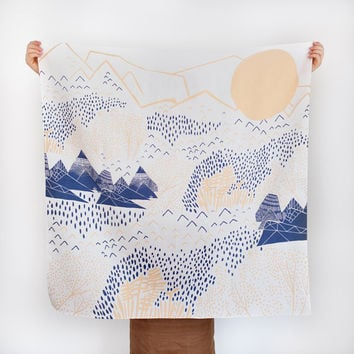 Mountain Blossom Furoshiki. Japanese multi wrapping cloth and scarf.