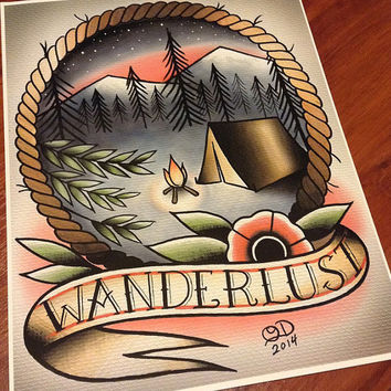 Wanderlust Tattoo Art print